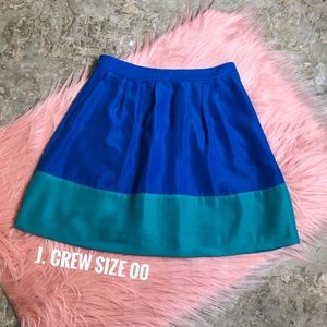 J. Crew Blue & Turquoise Skirt w Pockets Size 00